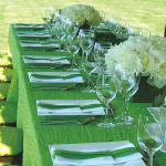 Seasonal green custom linens to compliement you and your cuisine.